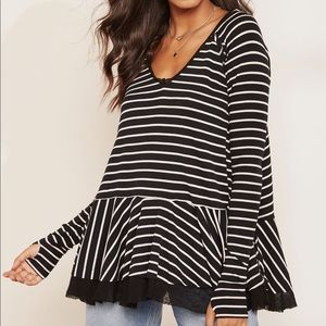 Free People Striped tangerine top